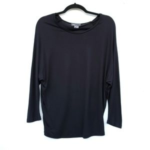 VINCE Black Slouchy Rayon Simple Top